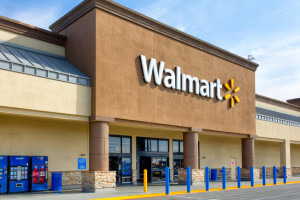 SALINAS, CA/USA - APRIL 8, 2104: Walmart store exterior. Walmart is an American multinational corporation that runs large discount stores and is the world's largest public corporation.